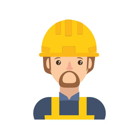 detection: cartoon builder man with safety helmet icon over white background colorful design vector illustration
