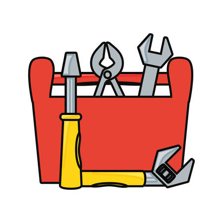 toolbox with repair tools icon over white background vector illustration