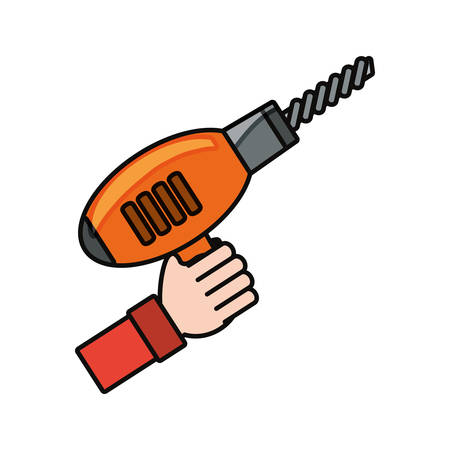 hand holding a drill icon over white background vector illustration
