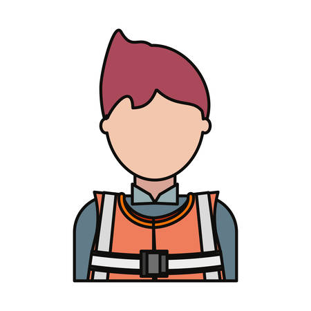cartoon builder man with safety helmet icon over white background colorful design vector illustration