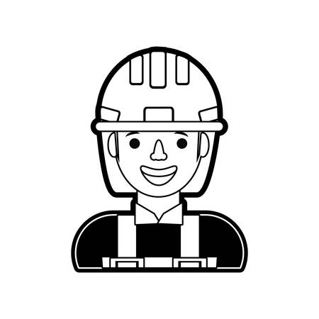cartoon builder man with safety helmet icon over white background vector illustration