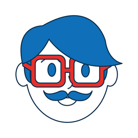 accessory: cartoon man with glasses icon over white background colorful design vector illustration Illustration