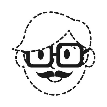 accessory: cartoon man with glasses icon over white background vector illustration