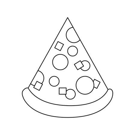 A pizza slice icon over white background vector illustration.