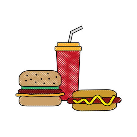 hot dog and hamburger icon over white background vector illustration Illustration