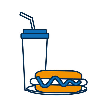 A hot dog and drink cup icon over white background vector illustration.