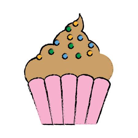 birthday celebration: muffin icon over white background vector illustration Illustration