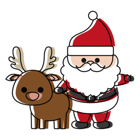 cartoon santa claus and christmas deer icon over white background colorful design vector illustration Illustration
