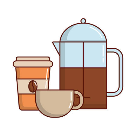 coffee french press and coffee mug  icon over white background vector illustration