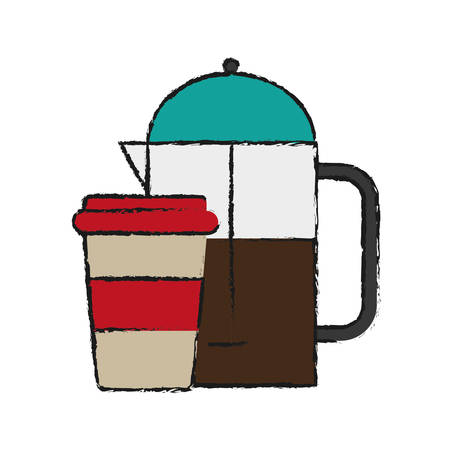 Coffee french press and coffee cup icon over white background vector illustration Illustration