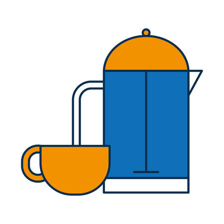 coffee french press and cup icon over white background vector illustration Illustration