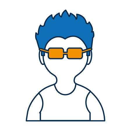 accessory: avatar man with glasses icon over white background colorful design vector illustration Illustration