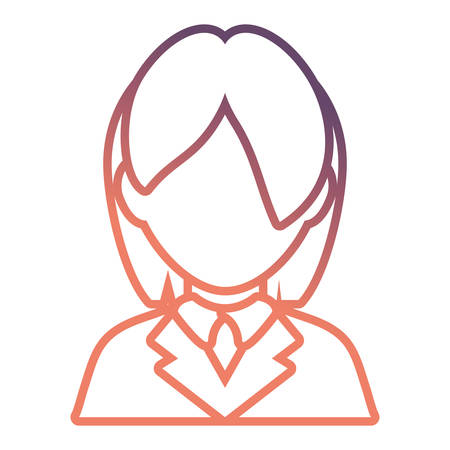 flat line colored lawyer woman doodle over white background vector illustration