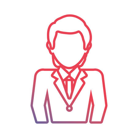 company: flat line colored  businessman  over white background  vector illustration Illustration