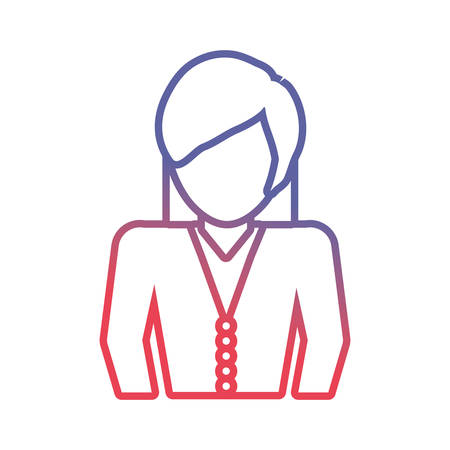 company: flat line colored  businesswoman  over white  background vector illustration