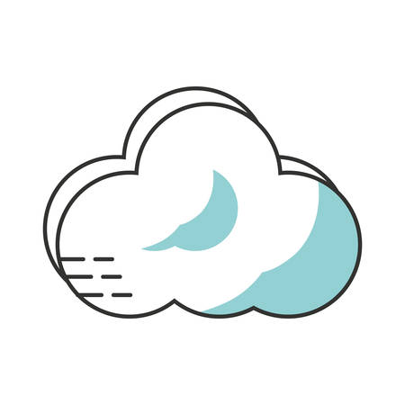 overcast: flat line monochromatic cloud over white  background  vector illustration