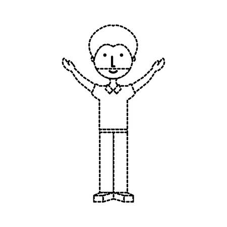 nice body: flat line  man  with beard sticker over white background  vector illustration