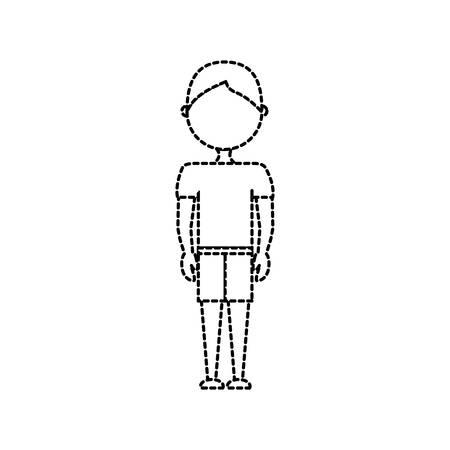 Vlakke lijn niet-gekleurde jongenssticker over witte vectorillustratie als achtergrond Stockfoto - 87445402