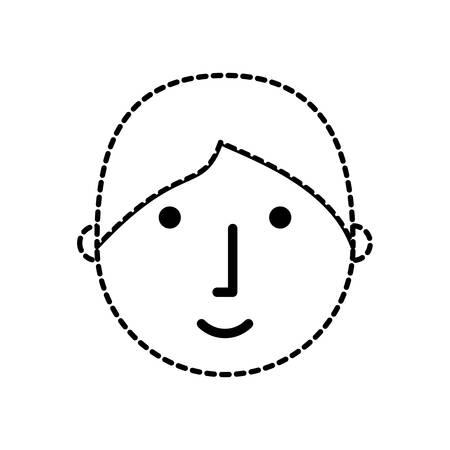 vlakke lijn ongekleurde gezicht jongen sticker over witte achtergrond vectorillustratie