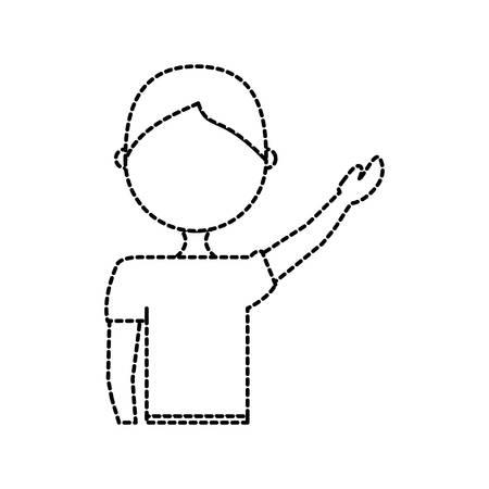 vlakke lijn niet-gekleurde jongenssticker over witte vectorillustratie als achtergrond