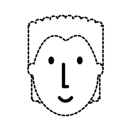 flat line uncolored  face boy sticker  over white background  vector illustration Illustration