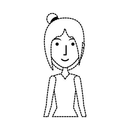 vlakke lijn niet-gekleurde meisjessticker over witte vectorillustratie als achtergrond Stock Illustratie