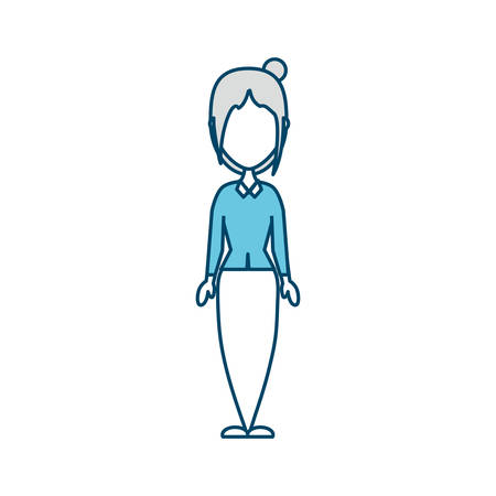 vlak lijn gekleurd meisje over witte vectorillustratie als achtergrond