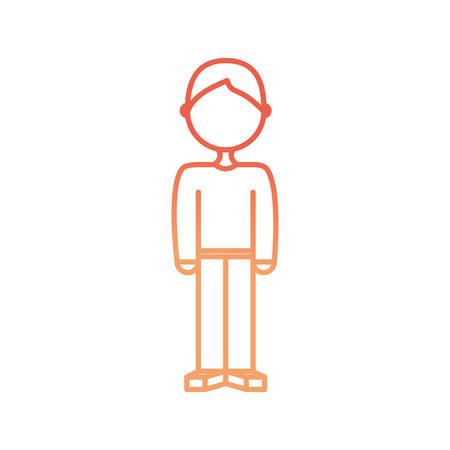 vlakke lijn gekleurde jongen over witte achtergrond vectorillustratie