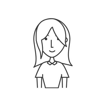 vlak lijn niet-gekleurd meisje over witte vectorillustratie als achtergrond Stock Illustratie