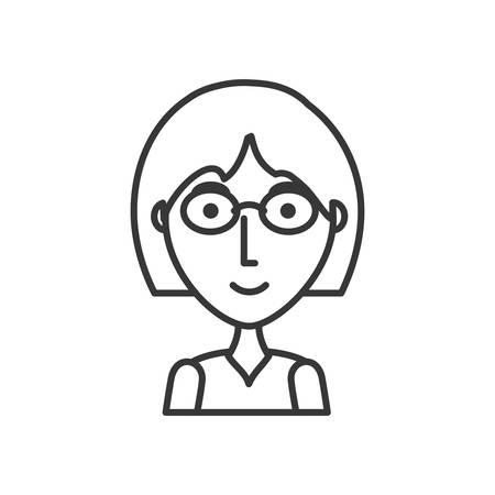 vlak lijn niet gekleurd meisje met glazen over witte vectorillustratie als achtergrond