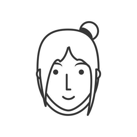 vlak lijn niet gekleurd gezichtsmeisje over witte vectorillustratie als achtergrond Stock Illustratie
