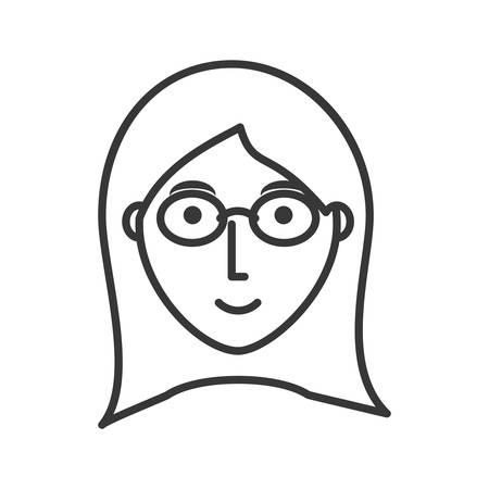 vlak lijn niet gekleurd gezichtsmeisje met glazen over witte vectorillustratie als achtergrond