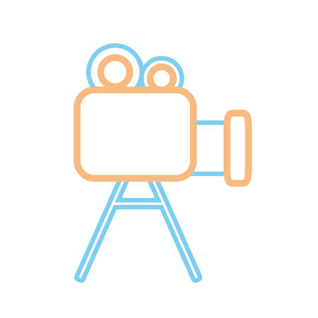 camera film: flat line colored  videocamera  over white background  vector illustration