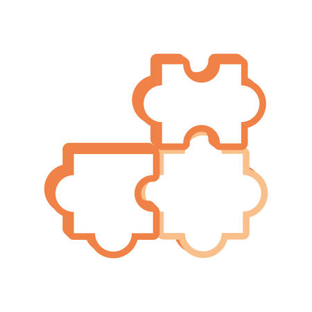 flat line colored  puzzle piece over white background  vector illustration