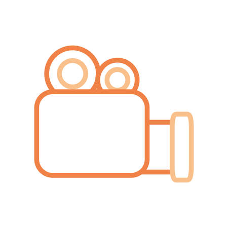 multimedia icons: flat line  colored vivdeocamera over white  background  vector  illustration