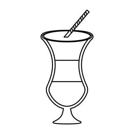 flat lien uncolored milk shake  over white background  vector illustration
