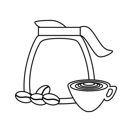 uncolored  coffee jar  and  coffee cup  over white  background  vector illustration