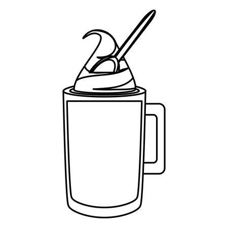 Uncolored  ice coffee and spoon over white background illustration Illustration