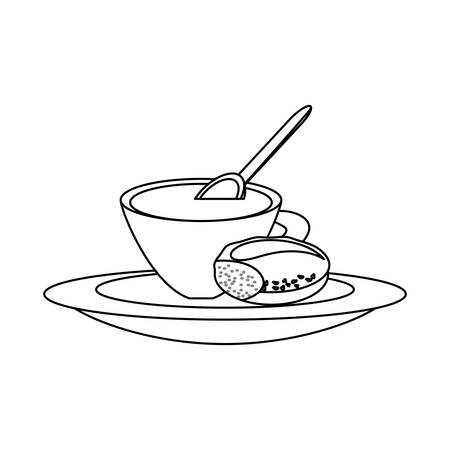 uncolored coffee cup and bread  over white background vector illustration