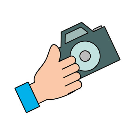 hand holding a camera icon over white background vector illustration