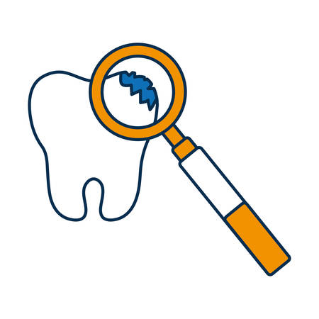 broken tooth and dental tool icon over white background vector illustration