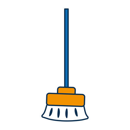broom icon over white background vector illustration