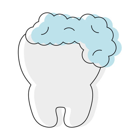 tooth with foam icon over white background vector illustration