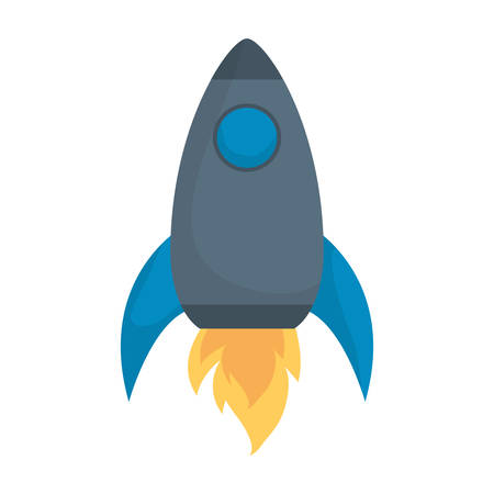 space rocket icon over white background vector illustration
