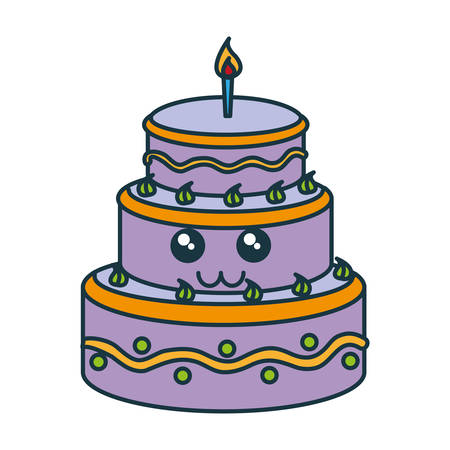 birthday cake with candles icon over white background vector illustration