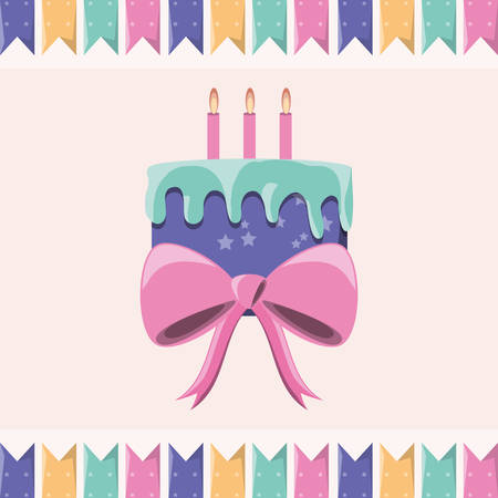 decorative bow and birthday cake with candles icon colorful design vector illustration
