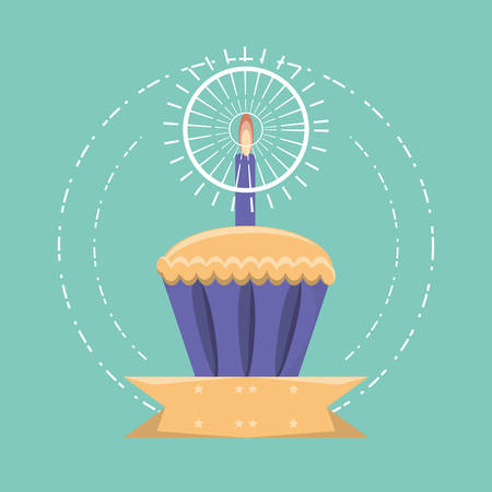 birthday muffin with candle icon over turquoise background vector illustration