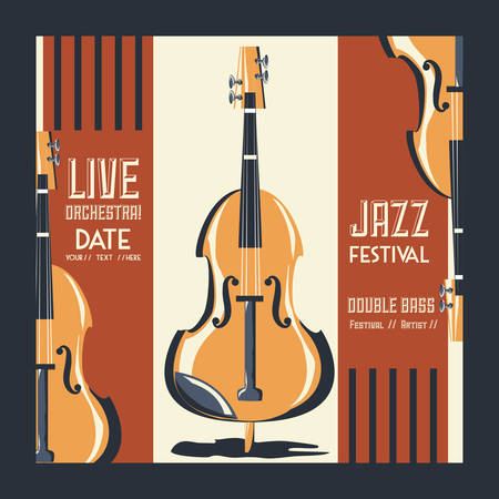 Jazz festival poster with fiddle instrument icon colorful design vector illustration