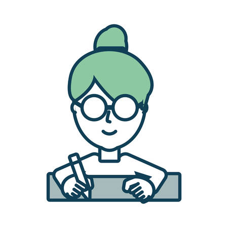 flat line  colored  woman   face  with  glasses  over white  background  vector  illustration