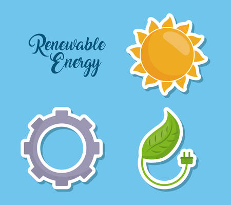 icon set of renewable energy concept over blue background colorful design vector illustration